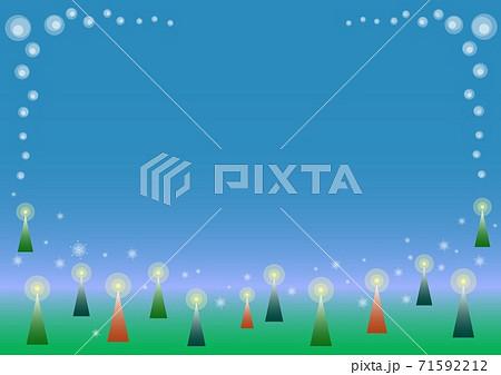 クリスマスイメージの夜空と森の背景 71592212