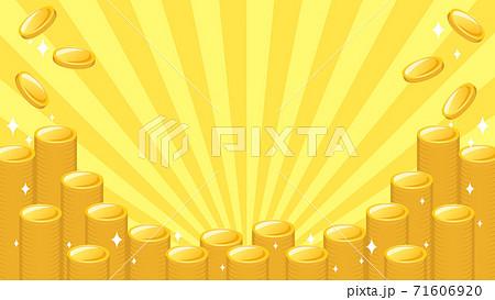 積み重なり輝くゴールドのコインのイラスト背景 下からの集中線 複数バリエーションあり 71606920