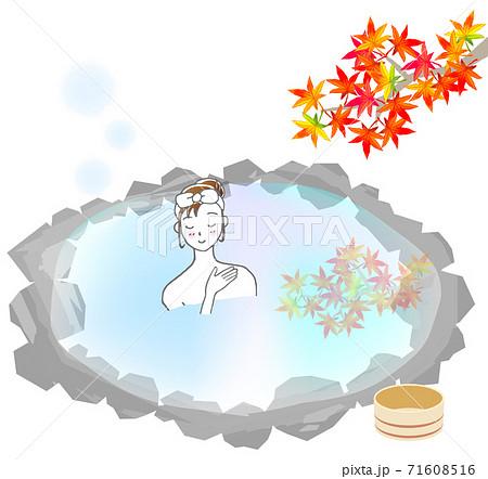 秋の露天風呂と女性 71608516