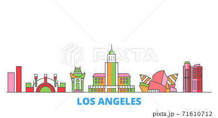 United States, Los Angeles City line cityscape, flat vector. Travel city landmark, oultine illustration, line world icons 71610712