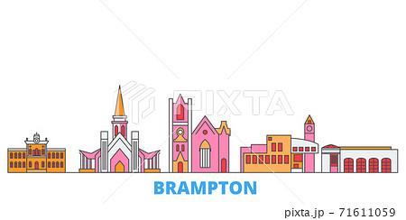 Canada, Brampton line cityscape, flat vector. Travel city landmark, oultine illustration, line world icons 71611059