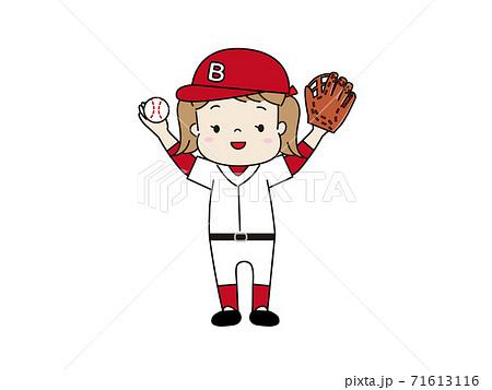 野球のユニフォームを着た女の子 71613116