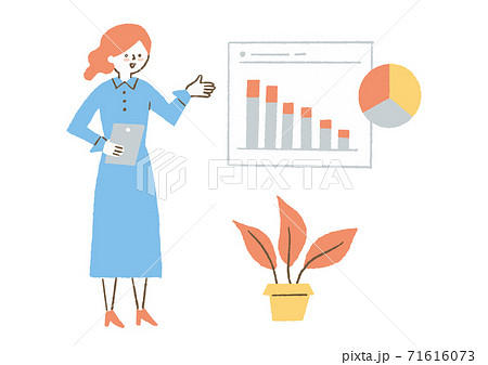 会社でプレゼンしている女性 71616073