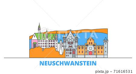 Germany, Neuschwanstein line cityscape, flat vector. Travel city landmark, oultine illustration, line world icons 71616531
