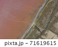 High angle drone view of pink lake where salt is extracted, Sasyk Sivash lake in Crimea 71619615