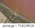 High angle drone view of pink lake where salt is extracted, Sasyk Sivash lake in Crimea 71619616
