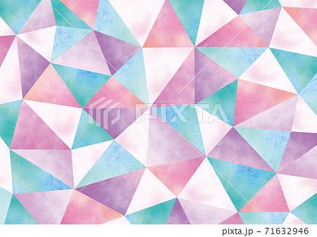 水彩のクリスタルのような幾何学模様 71632946