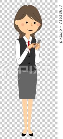 一個穿著智能手機的製服的女人 71638657