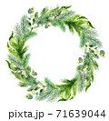 Watercolor christmas frame. Watercolor Christmas wreath with fir branches and place for text. 71639044