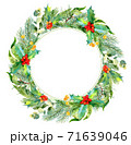 Watercolor christmas frame. Watercolor Christmas wreath with fir branches and place for text. 71639046