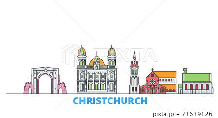 New Zealand, Christchurch line cityscape, flat vector. Travel city landmark, oultine illustration, line world icons 71639126