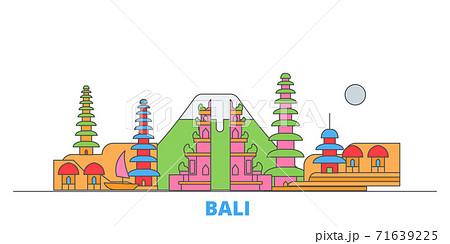 Indonesia, Bali line cityscape, flat vector. Travel city landmark, oultine illustration, line world icons 71639225