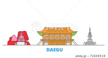 South Korea, Daegu line cityscape, flat vector. Travel city landmark, oultine illustration, line world icons 71639519