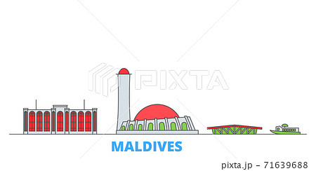 Maldives line cityscape, flat vector. Travel city landmark, oultine illustration, line world icons 71639688