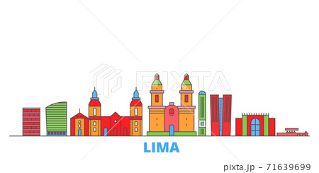 Peru, Lima line cityscape, flat vector. Travel city landmark, oultine illustration, line world icons 71639699