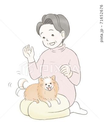 ポメラニアンを膝に乗せた笑顔の初老女性 71652676
