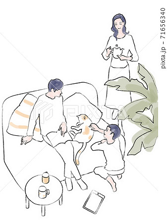 リビングでくつろぐ3人家族と猫 手描き風線画 71656340
