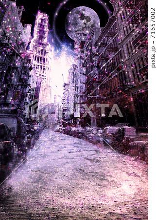 塵が積もり紫色に輝く大気汚染された廃墟の街 71657002
