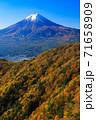 紅葉の三ッ峠と霊峰 富士山 山梨 71658909