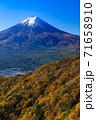 紅葉の三ッ峠と霊峰 富士山 山梨 71658910