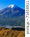 紅葉の三ッ峠と霊峰 富士山 山梨 71658911