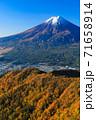紅葉の三ッ峠と霊峰 富士山 山梨 71658914