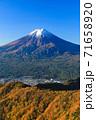 紅葉の三ッ峠と霊峰 富士山 山梨 71658920