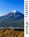 紅葉の三ッ峠と霊峰 富士山 山梨 71658923