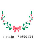 Christmas wreath and Red ribbon drawing on white paper background 71659134