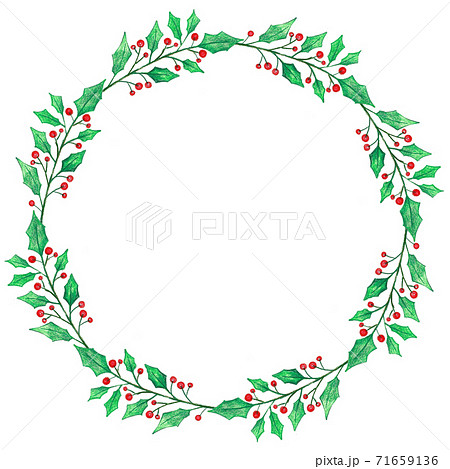 christmas wreath with holly berries 71659136