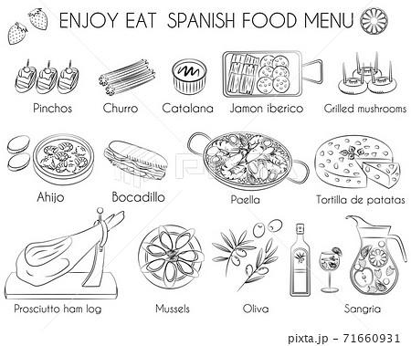 Spanish food menu icon 71660931