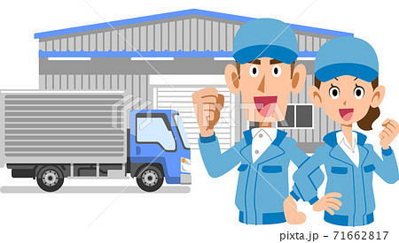 倉庫とトラックの前でガッツポーズする男女の上半身 71662817