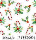 Christmas seamless watercolor pattern. Tasty set of Christmas sweets.  71669054