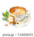 Cup of coffee with milk, cookies, anise, cinnamon and fir tree branch. Watercolor hand-drawn object isolated on white background.  71669055