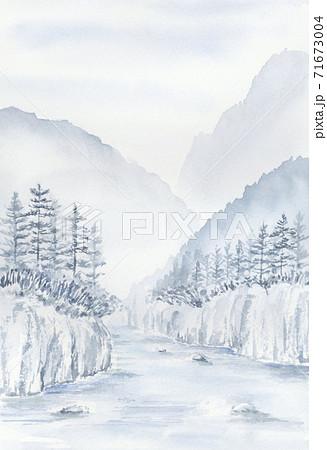 山と木と水の風景 水墨画 墨絵 山水画 青墨 71673004