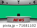 white table and chair in news studio room with the green background 71681102