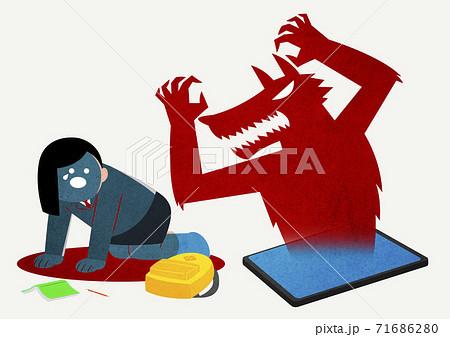 Online predator concept, cyber criminals illustration 010 71686280