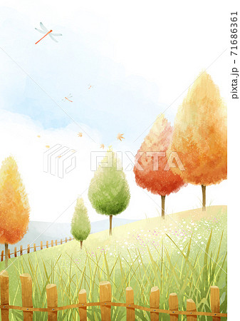 Beautiful autumn landscape in park illustration 004 71686361