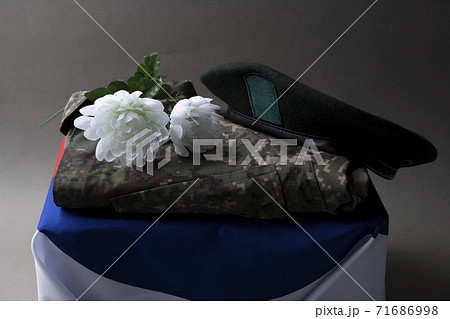 Military symbols concep, South Korean flag and folded military uniform 22 71686998