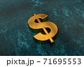 3d illustration of a gold dollar sign on a dark background as a symbol of wealth and luxury 71695553
