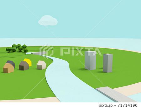 クレイアニメ背の背景風3D風景イラスト(ダムあり) 71714190