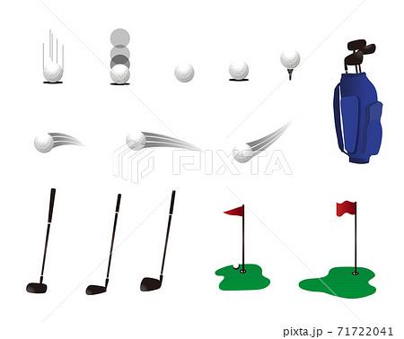 ゴルフのボールの動き・クラブ・ゴルフ場イラスト 71722041