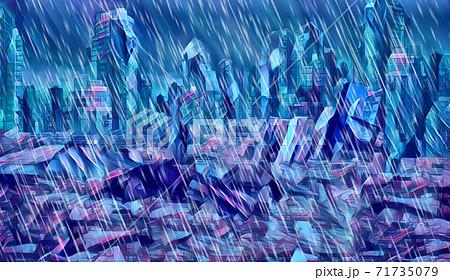 未来都市戦争後廃墟に降る雨 71735079