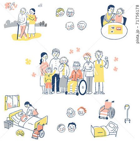 さまざまな介護イメージシーン セット 71756178