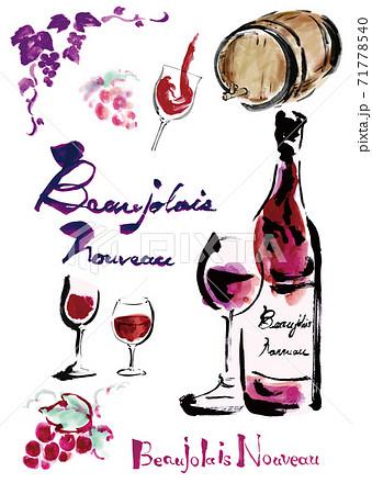 ボジョレーヌーボーやワイン関連のワインボトルやグラスワインやぶどうや文字などのセット 71778540