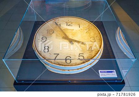 東日本大地震の津波で止まった時計(震災遺構・仙台市立荒浜小学校) 71781926