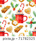 Christmas seamless watercolor pattern. Tasty set of Christmas drinks and sweets.  71782325