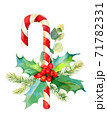 Christmas candy cane with Holly berry, eucalyptus and fir branch. Watercolor hand drawn illustration 71782331