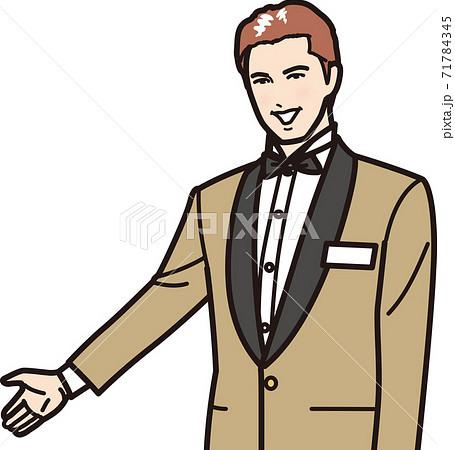 笑顔で案内するホテルマン 71784345