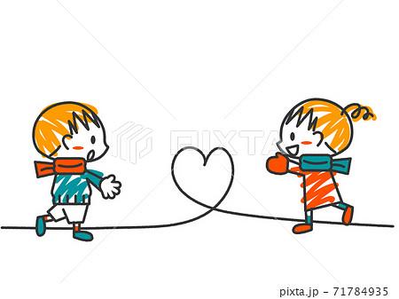 かわいい線画の手描き風バレンタインイメージイラスト 71784935